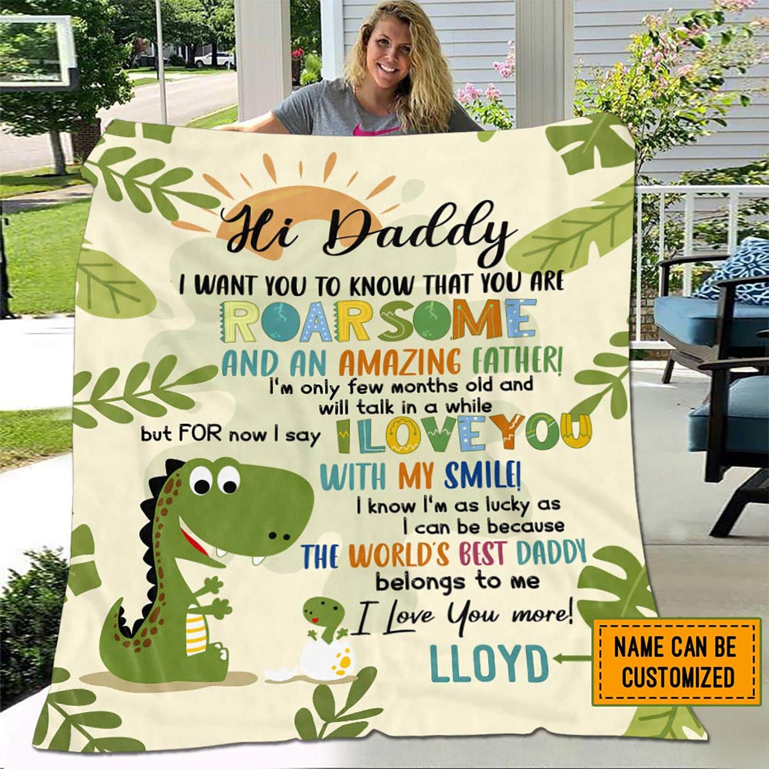 Personalized You Are Roarsome And An Amazing Father cute dinosaur Fleece Blanket