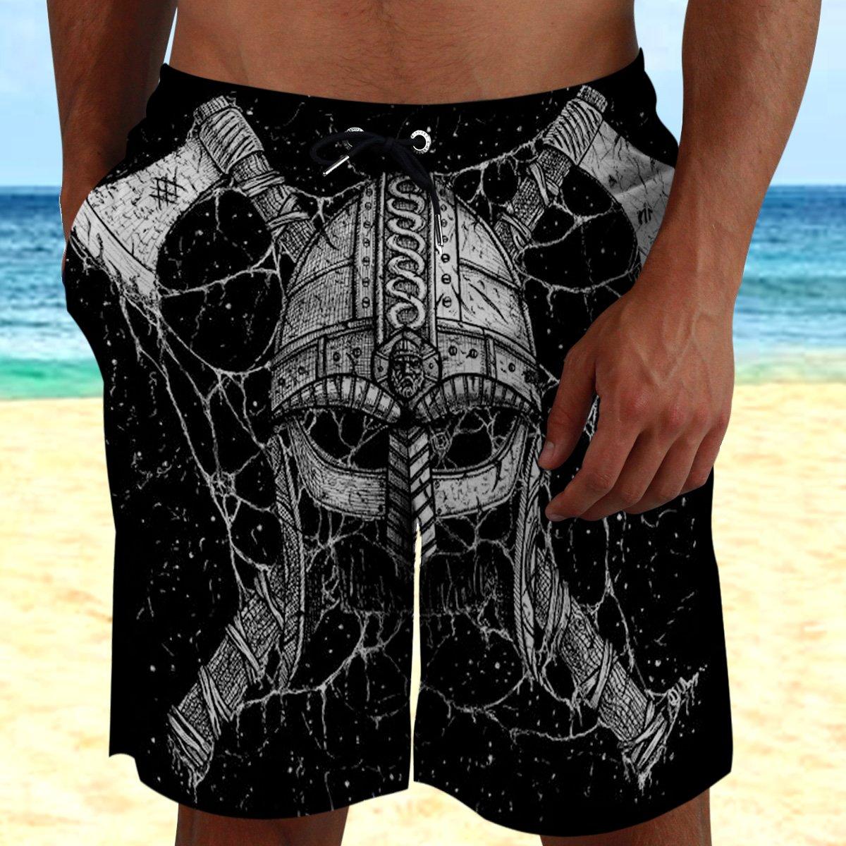 Viking warrior Skull with Axe Beach Shorts