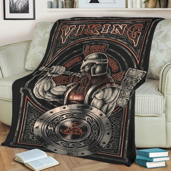 Viking warrior hammer and shield fleece blanket