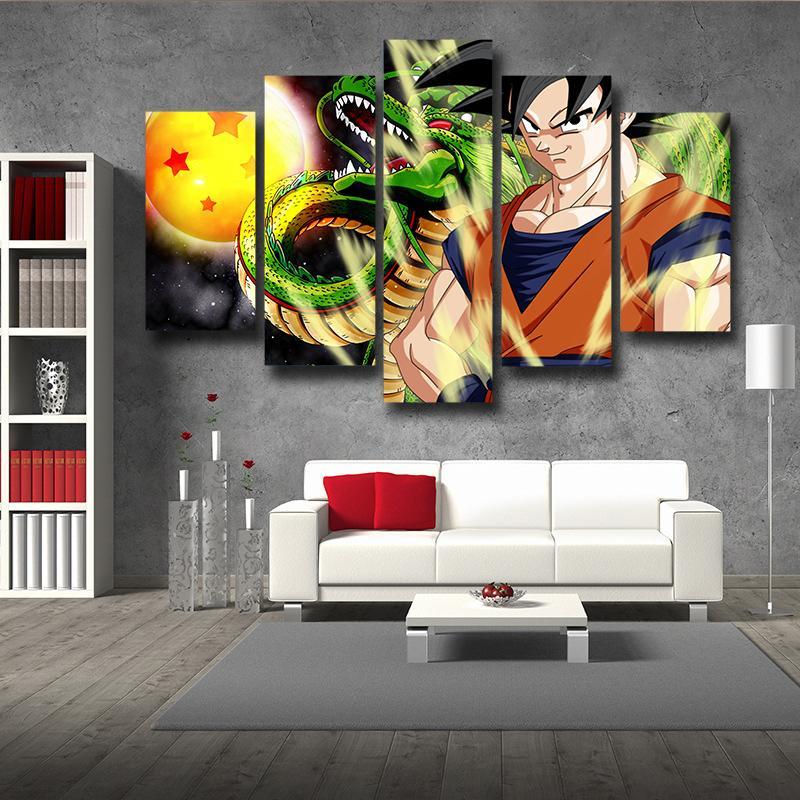 DBZ Goku Shenron Epic Style 5pc Wall Art Decor Canvas Print