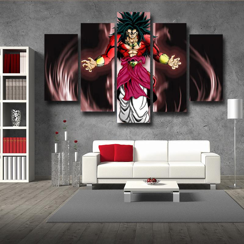 Dragon Ball Broly SSJ4 5pc Wall Art Canvas Prints
