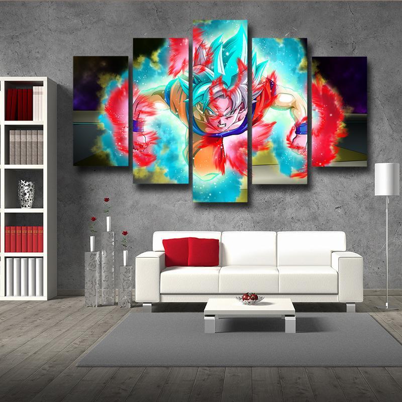 Dragon Ball Half Goku God Blue Goku Ultra Instinct 5pc Wall Art Decor
