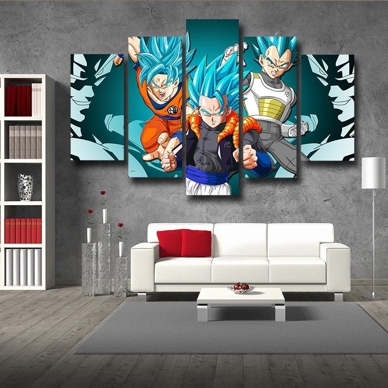 Resurrection Gogeta Super Saiyan Blue Goku Vegeta Super Saiyan Blue 5pc Wall Art