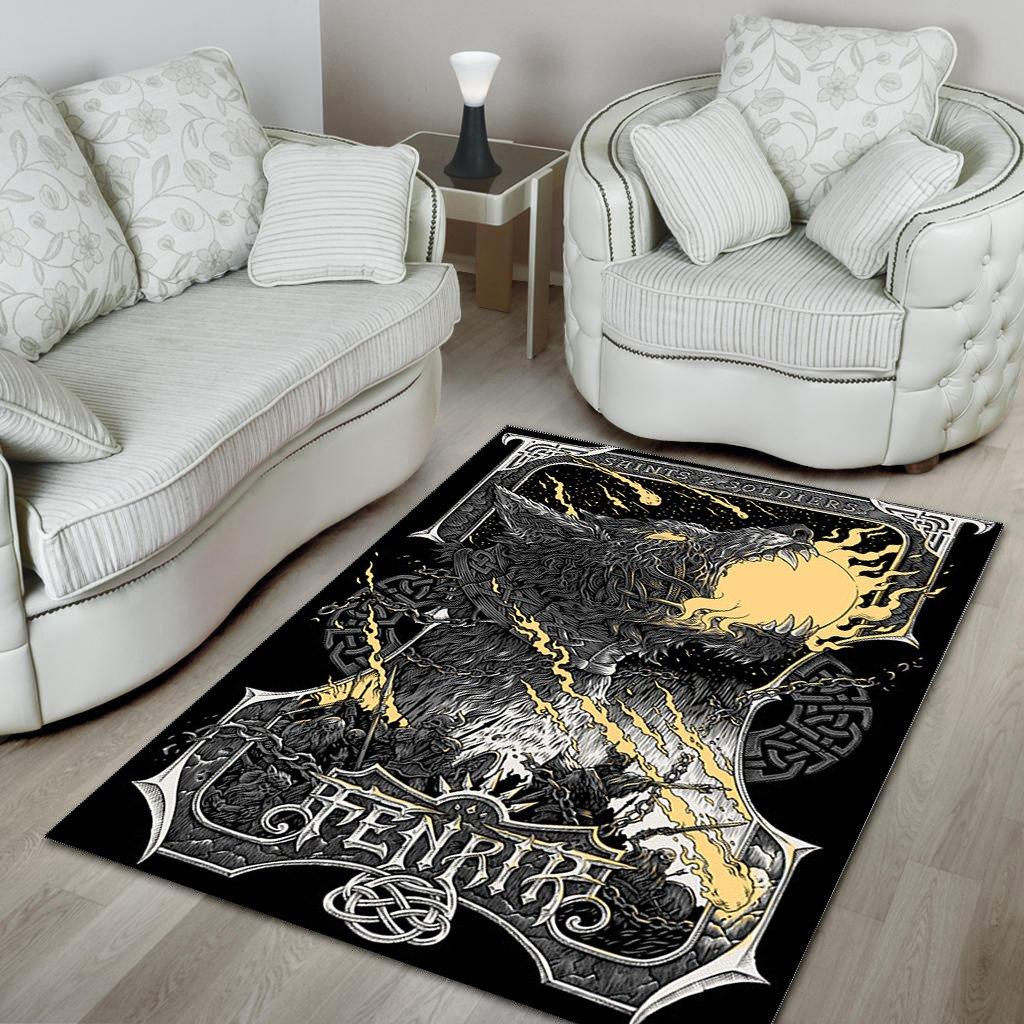 Fenrir Viking battle Area Rug Carpet Rug
