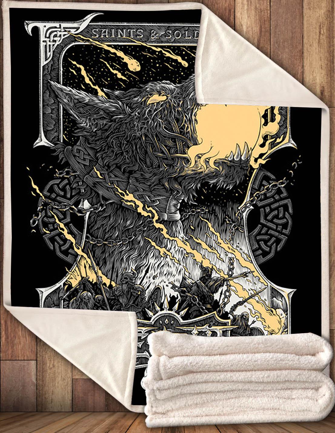 Viking war Fenrir fleece Blanket