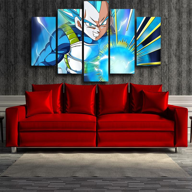 Dragon Ball Angry Vegeta Super Saiyan Blue Ki Blast 5pc Wall Art Decor