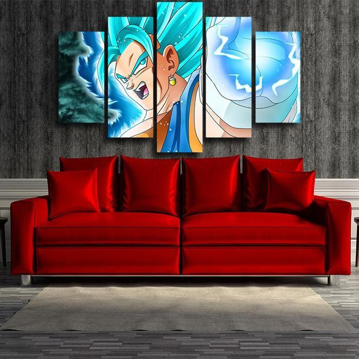 Dragon Ball Vegito Ki Blast Vibrant 5 panel wall art Canvas Print