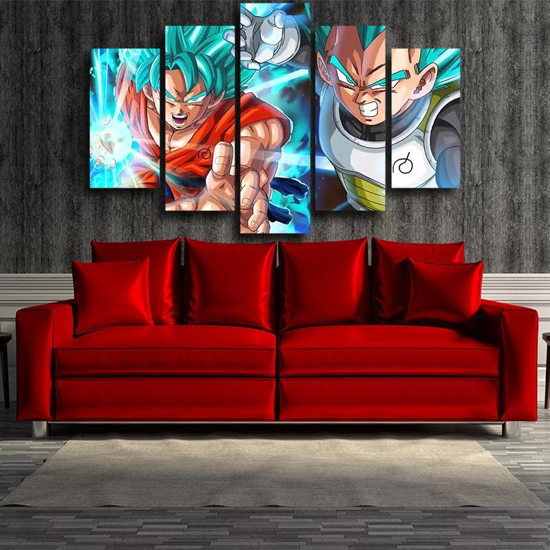 Resurrection Goku Vegeta Ki Blast Fighting 5 panel Wall Art