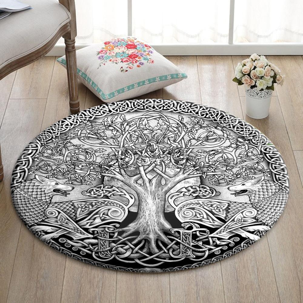 Viking Yggdrasil Tree of life Round Mat Round Rug
