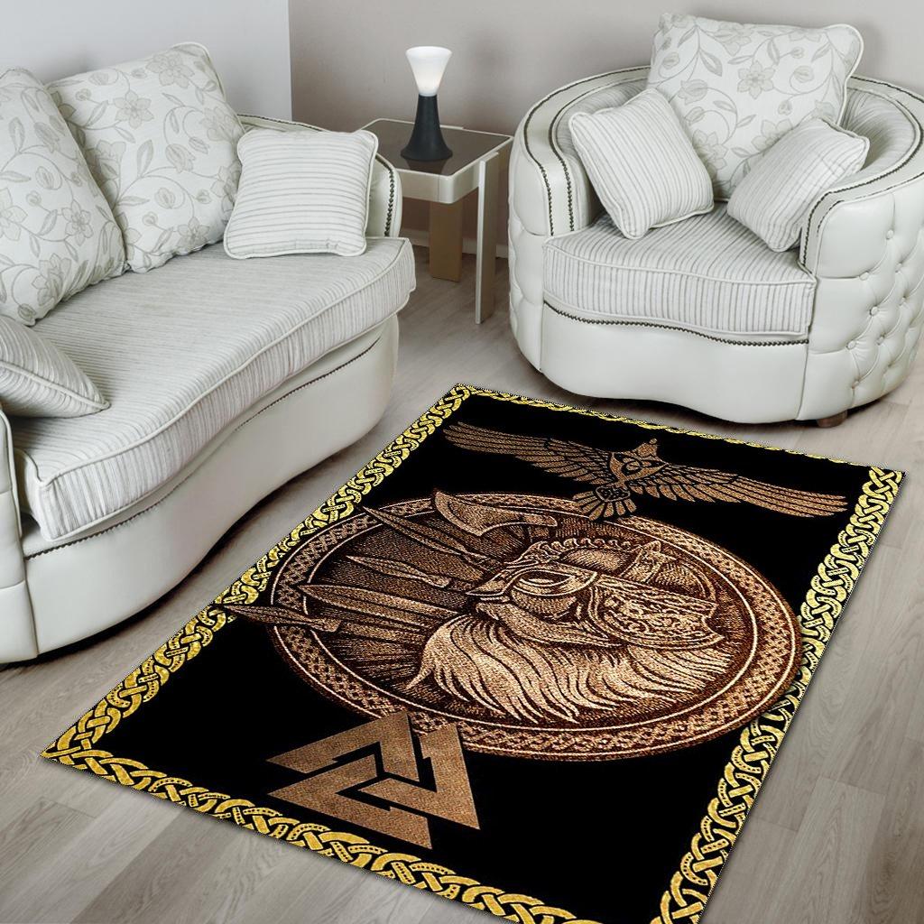 Viking Odin Huginn and valknut symbol Area Rug Carpet Rug