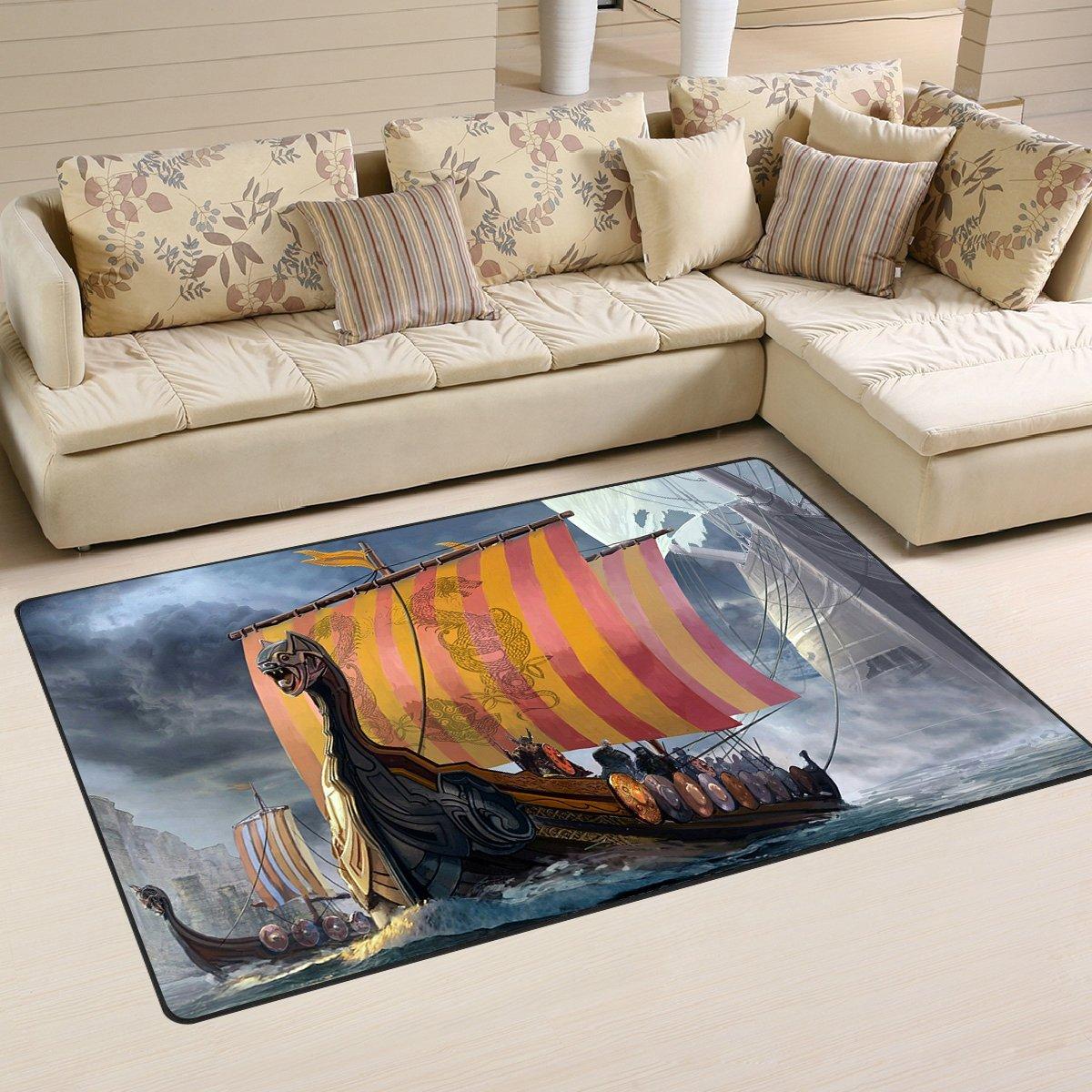 Viking Ship Sailing Area Rug Carpet Rug