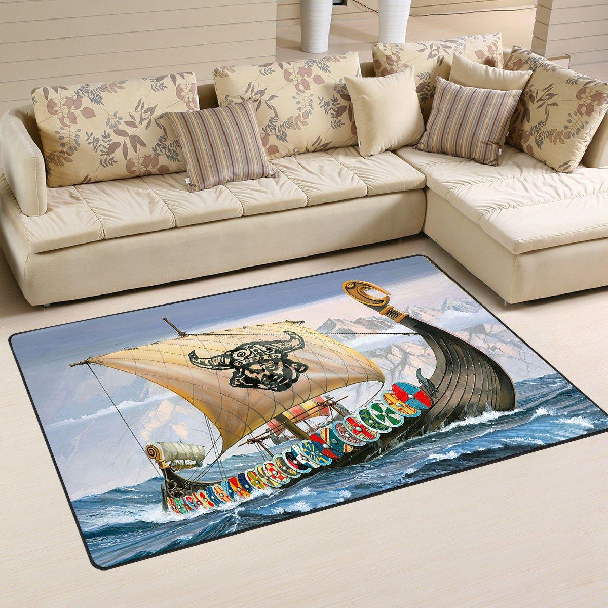 Viking Ship Viking Warrior Area Rug Carpet Rug