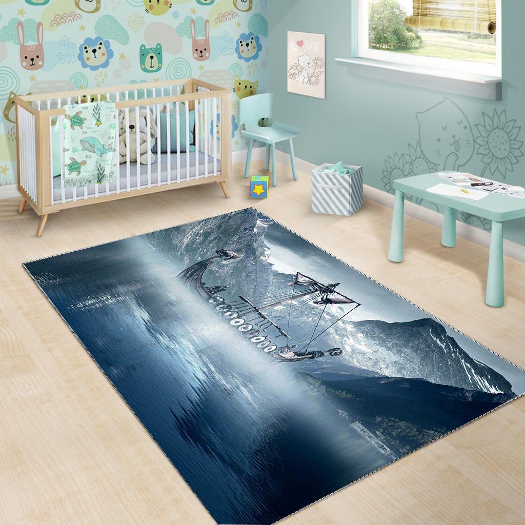 Viking Ship Area Rug Carpet Rug