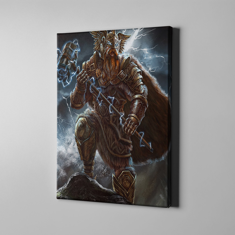 Viking warrior Thor thunderbolt with Mjonlir Canvas