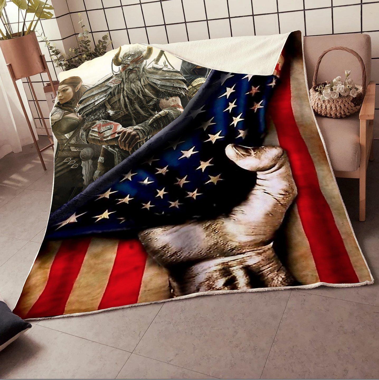 Viking warrior American Flag Fleece Blanket