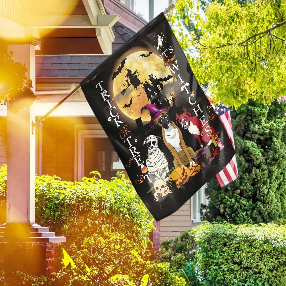 Boxer Dog Halloween Trick Or Treat House Flag Garden Flag