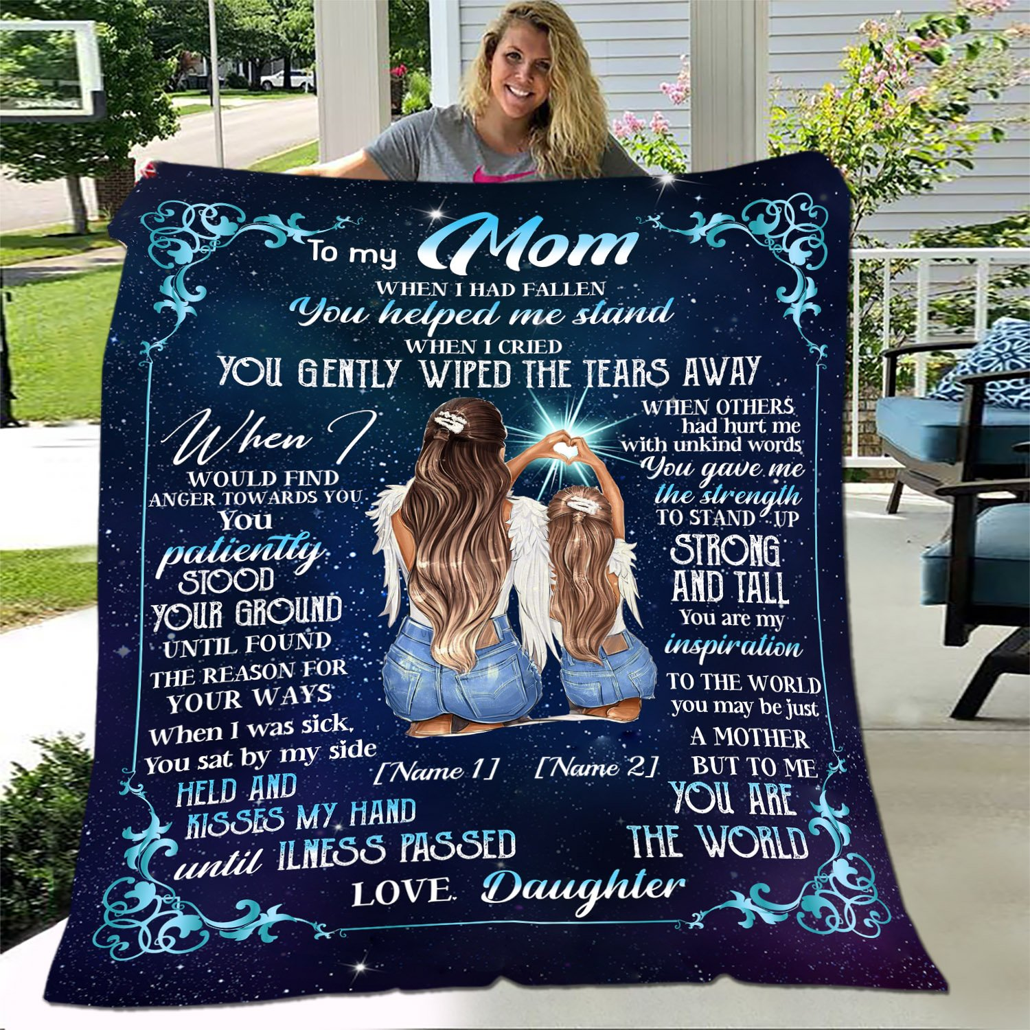 Personalized Fleece Blanket When I Had Fallen You Helped Me Stand Mother gift