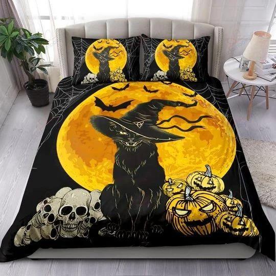 Sinister Black Cat skull Halloween Bedding Set