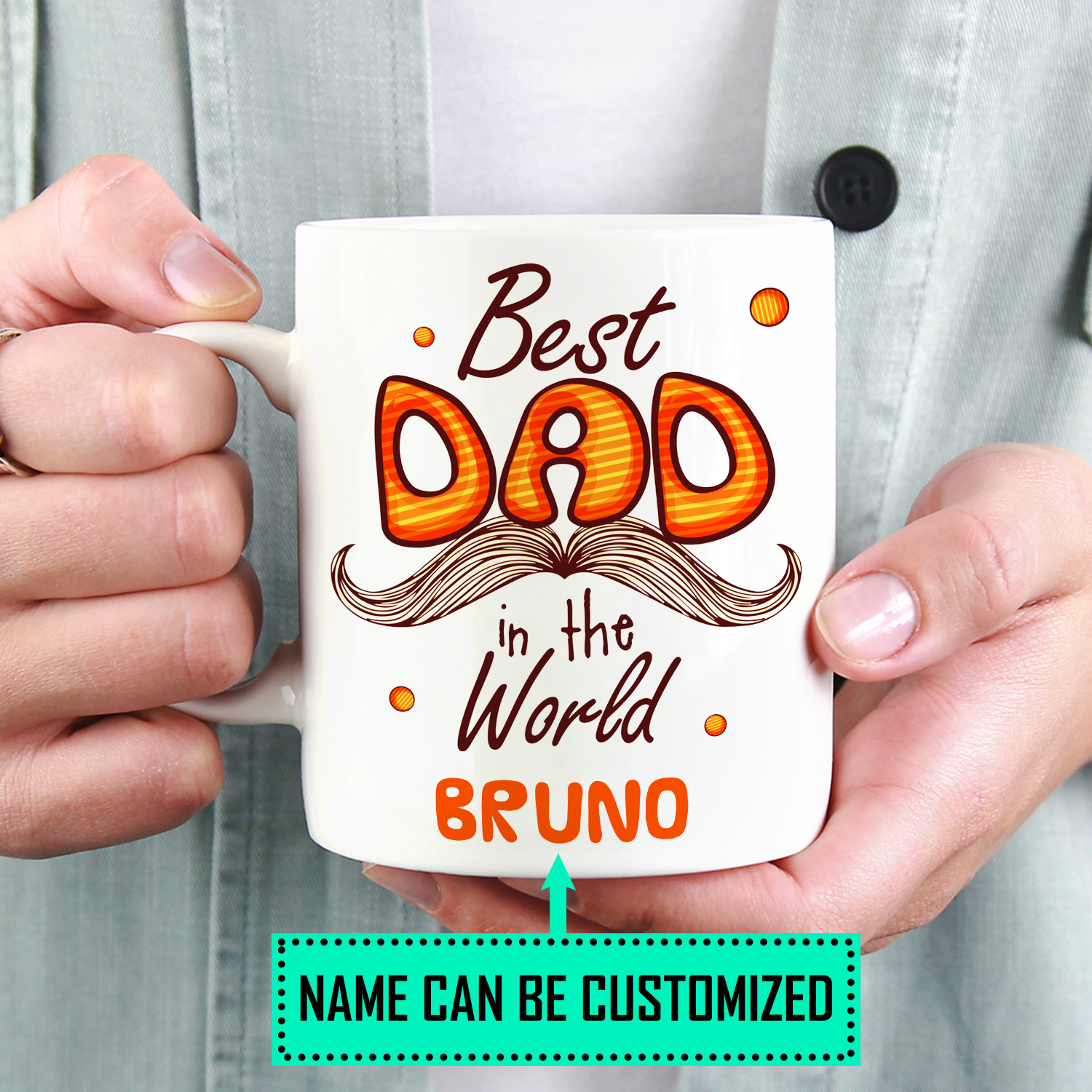 Personalized Best Dad In The World Coffee Mug