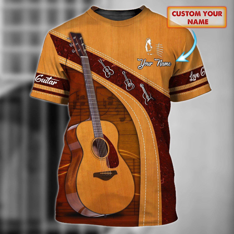 Love Guitar Sunburst Custom Name 3D Tshirt