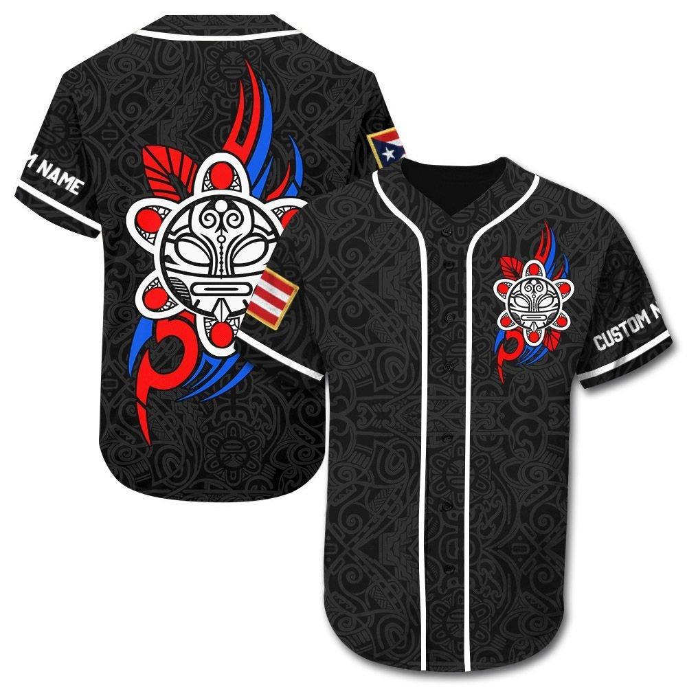 Custom name Puerto Rico Taino Sun Tribal Baseball Jersey Shirt