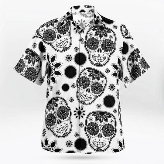 Skull Face Black and White Hawaiian Shirt