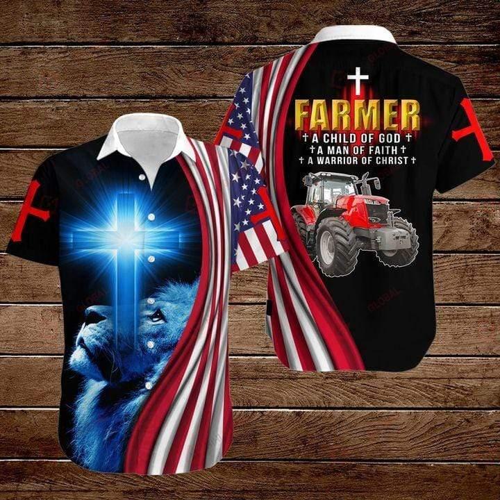 Jeep Farmer A Warrior Of Christ Lion God Hawaiian Button Up Shirt