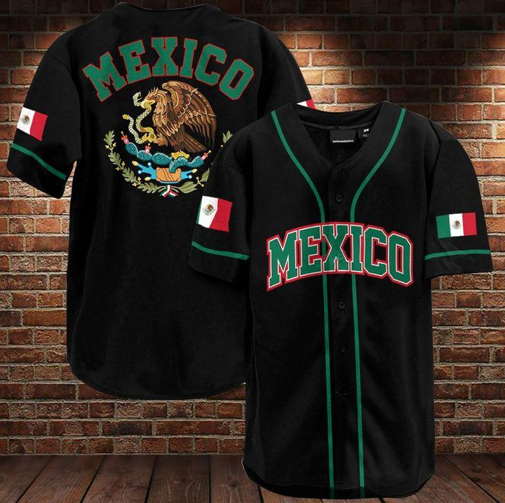Mexico flag and coat of arms Baseball Jersey Shirt