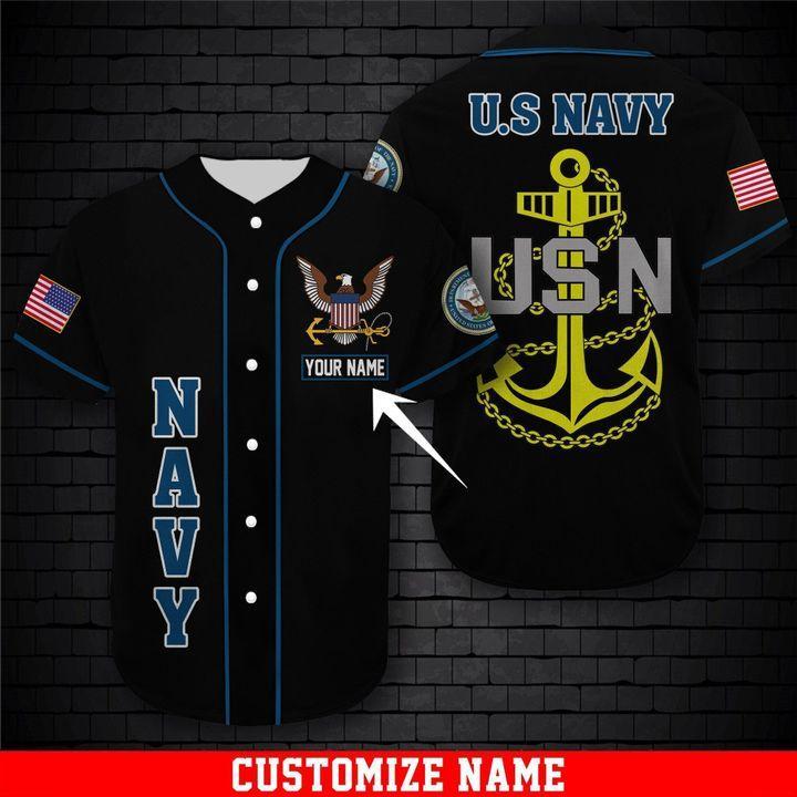 Custom Name US Navy USN Baseball Jersey Shirt