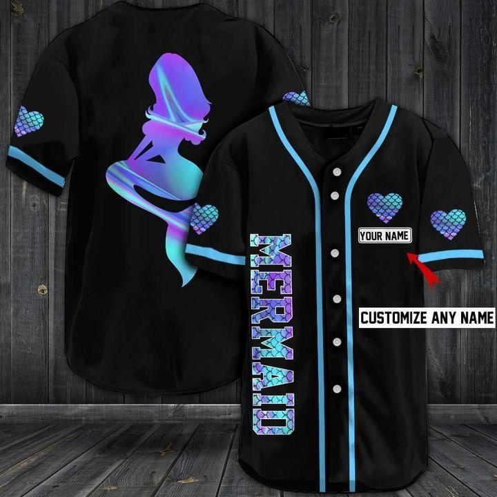 Custom Name Mermaid Baseball Jersey Shirts
