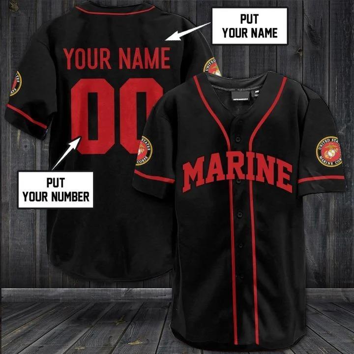 Custom Name and Number US Marine Black Baseball Jersey Shirt