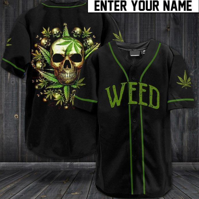 Custom Name Green Weed Skull Baseball Jersey Shirt