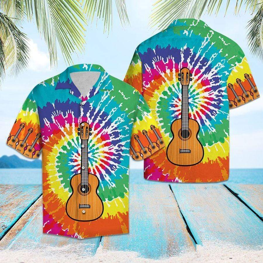 Guitar Tie Dye rainbow Hawaiian Aloha Shirts