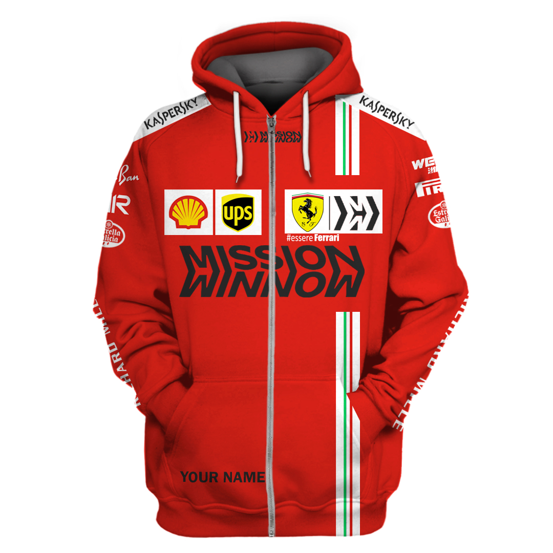 Personalized Ferrari F1 team Mission Winnow 3D T Shirt and hoodie