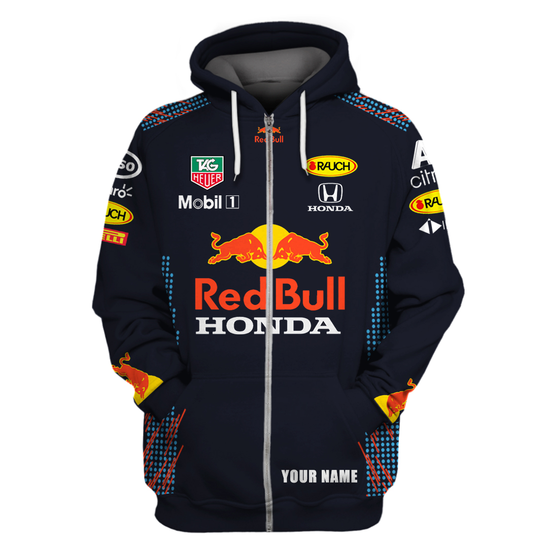 Personalized Red Bull Honda Mobil 1 F1 racing T shirt and Hoodie