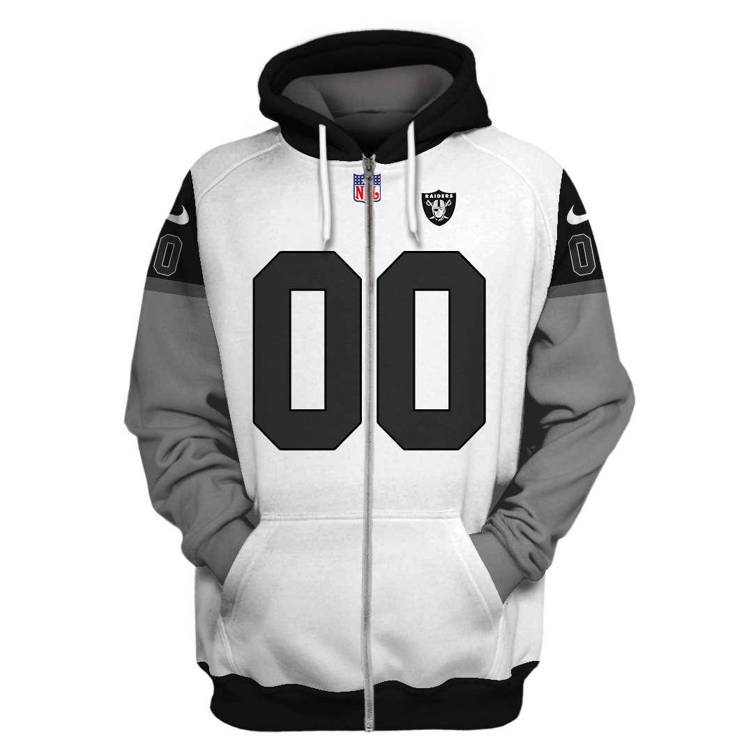 Customized Oakland Raiders white version 3D hoodie T-shirt