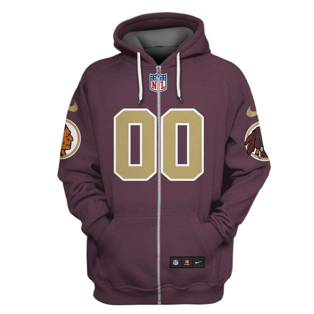 Custom Name Number NFL Washington Redskins red hoodie sweatshirt