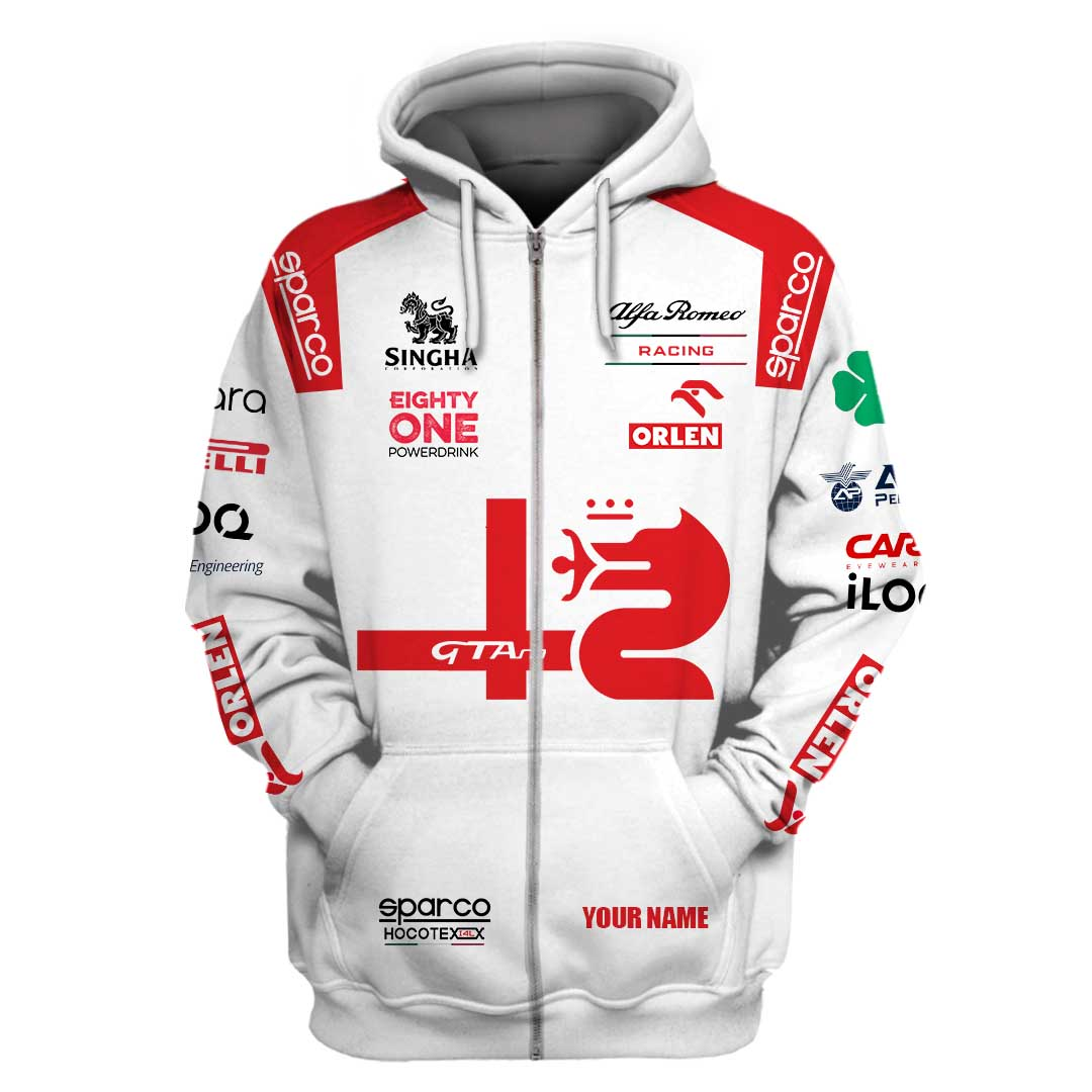 Personalized Sparco Alfa Romeo Racing Orlen F1 hoodie and T shirt