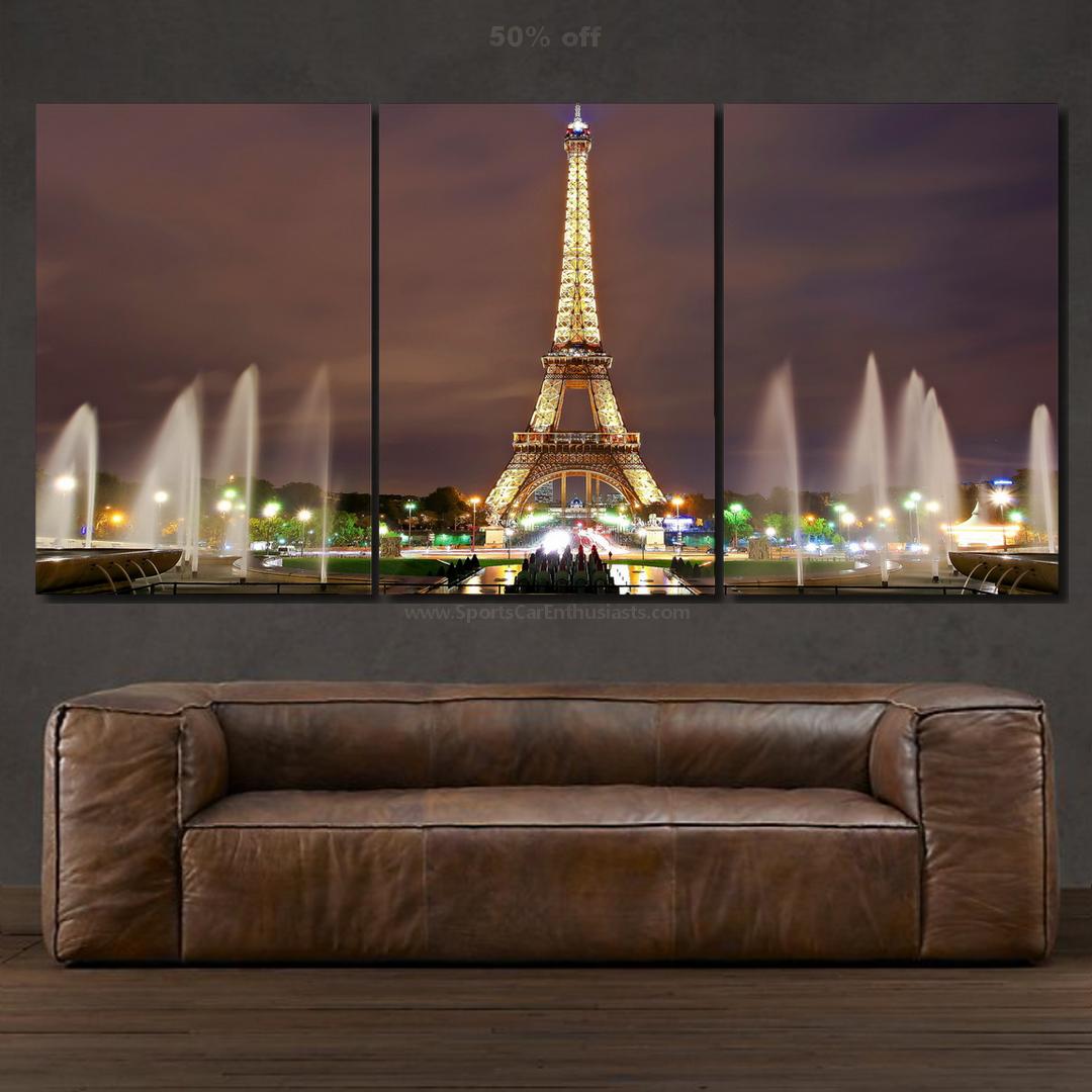 Eiffel tower night light Canvas 5 panel