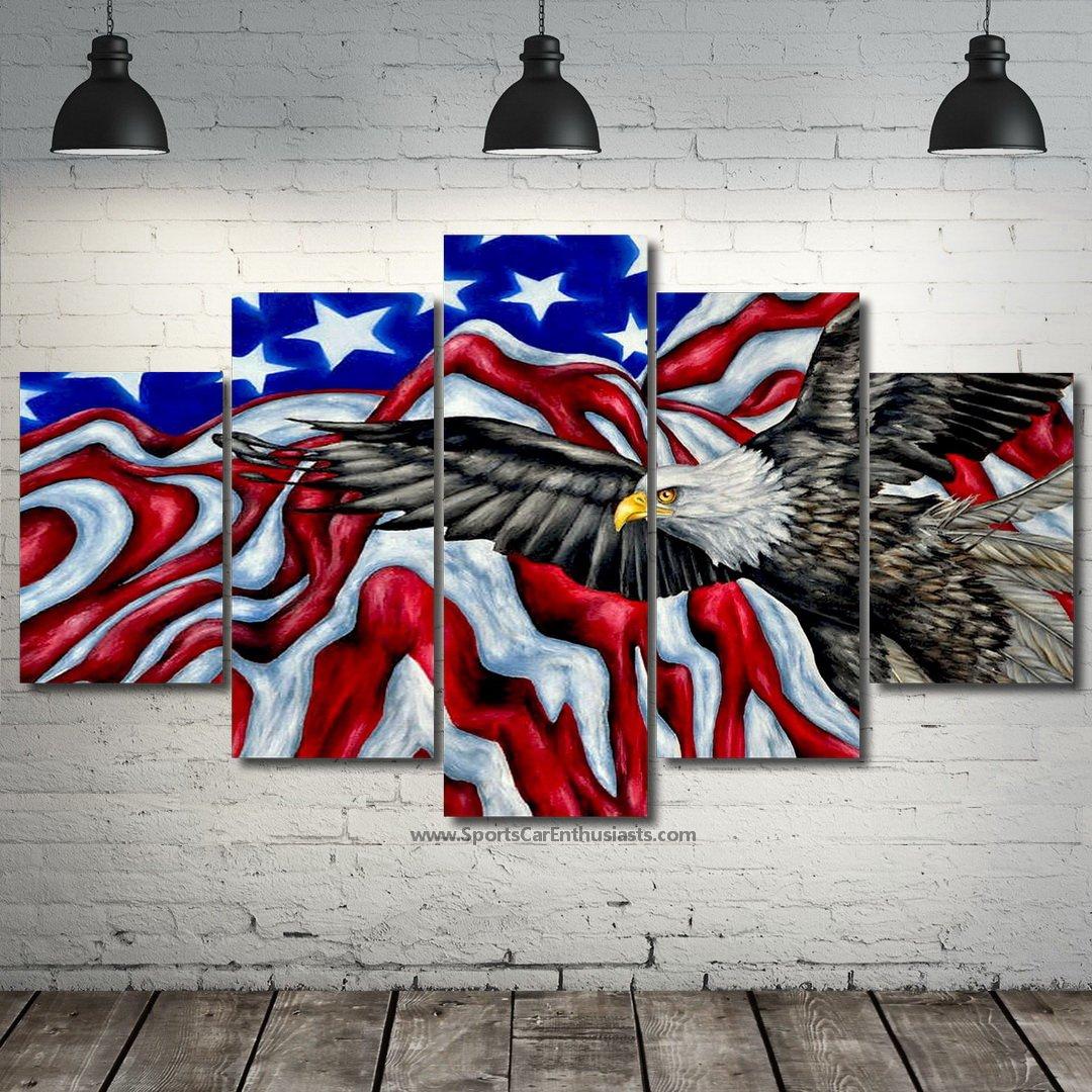USA Flag with eagle Canvas 5 panel