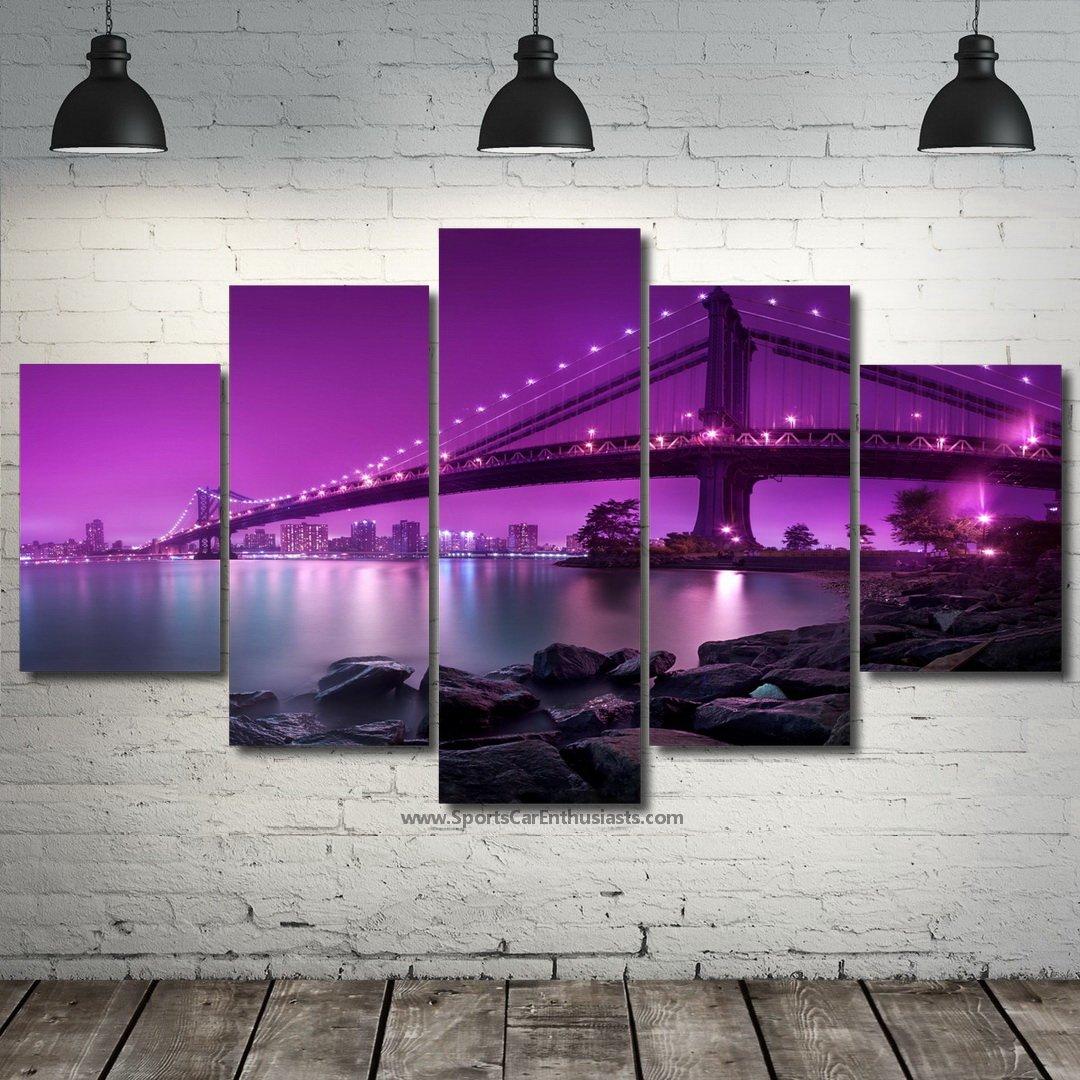 Beautiful Bridge in Purple NightCanvas 5 panel