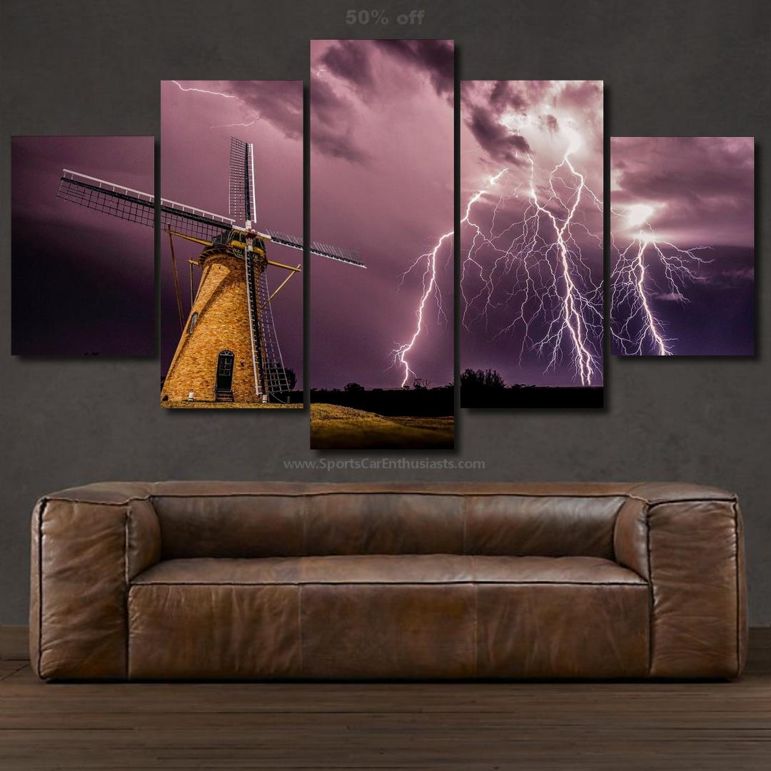 Windmill under Thunder Canvas 5 panel