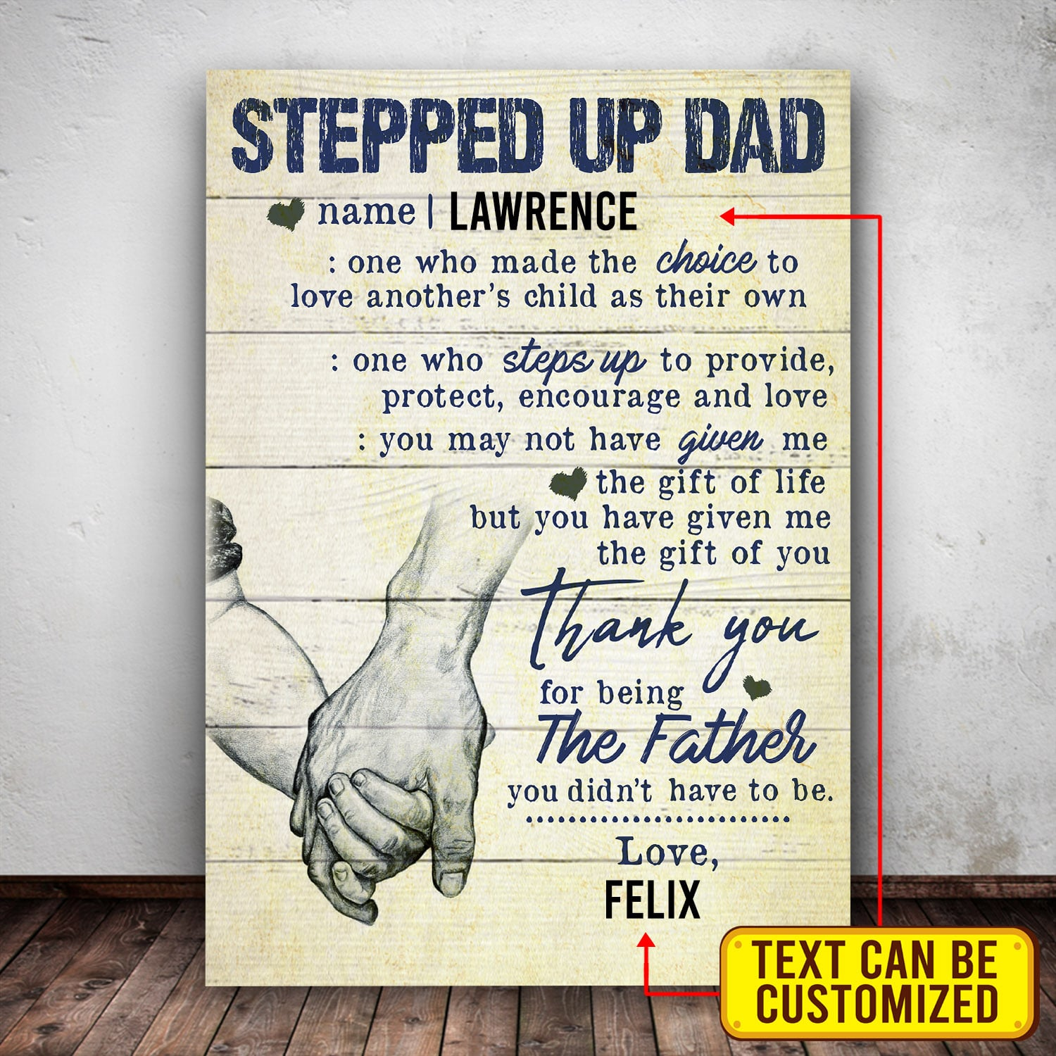Personalized Stepped Up Dad Hand In Hand Canvas
