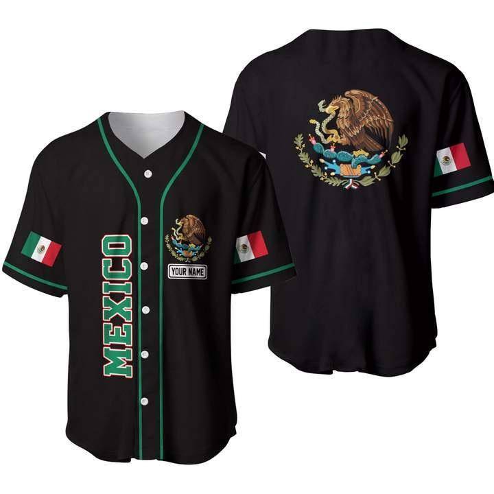 Custom Name Mexico black Baseball Jersey Shirt