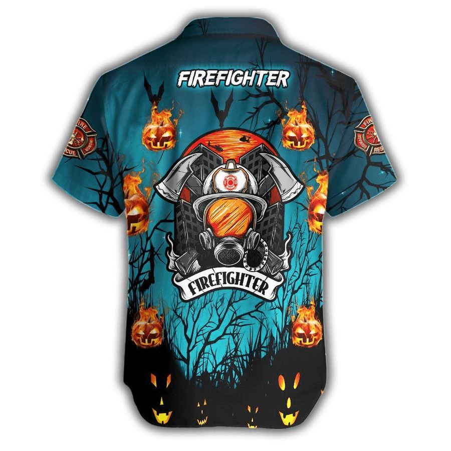 Custom Name Hawaiian Shirts Firefighter Halloween