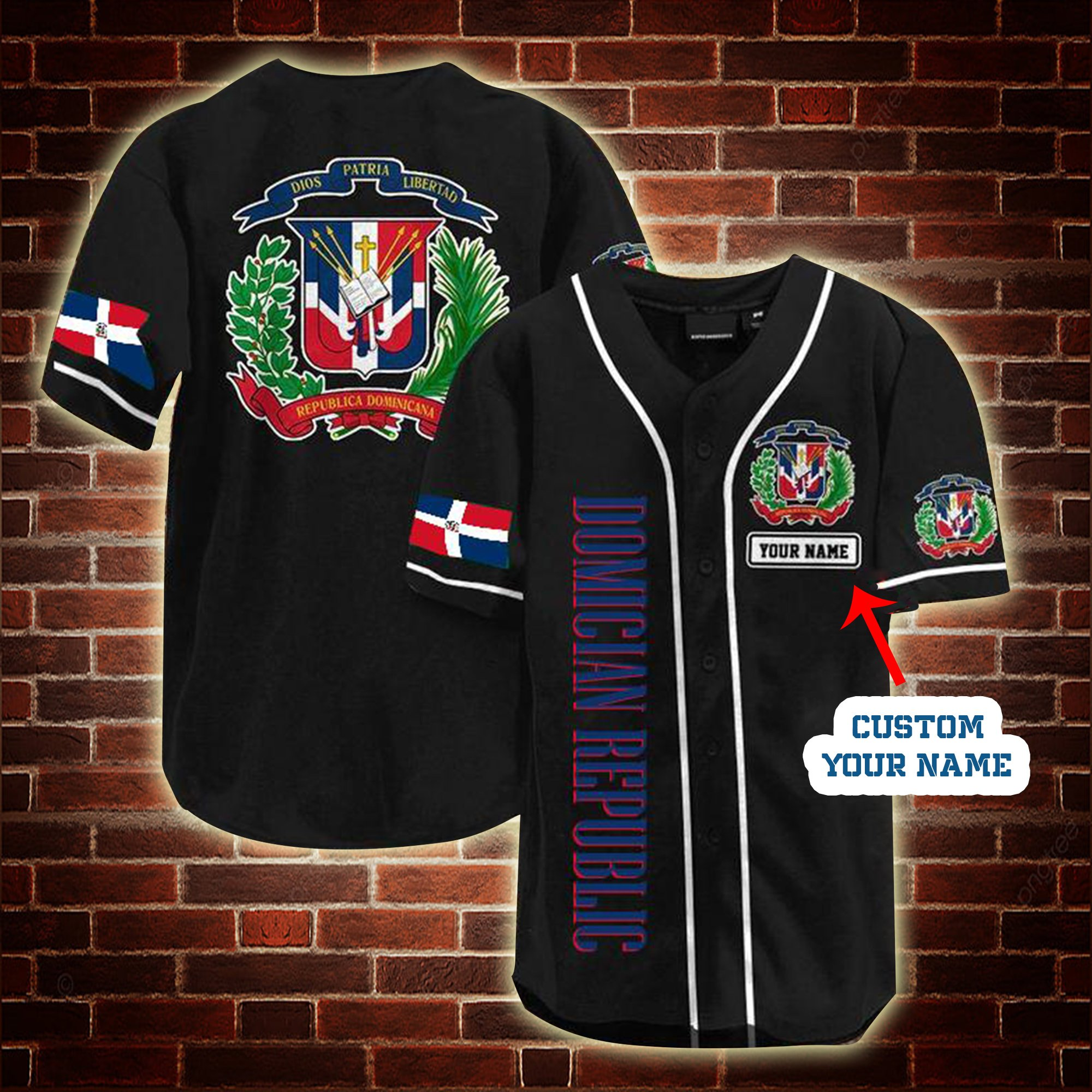 Custom Name Dominican Republic Baseball Jersey Shirt