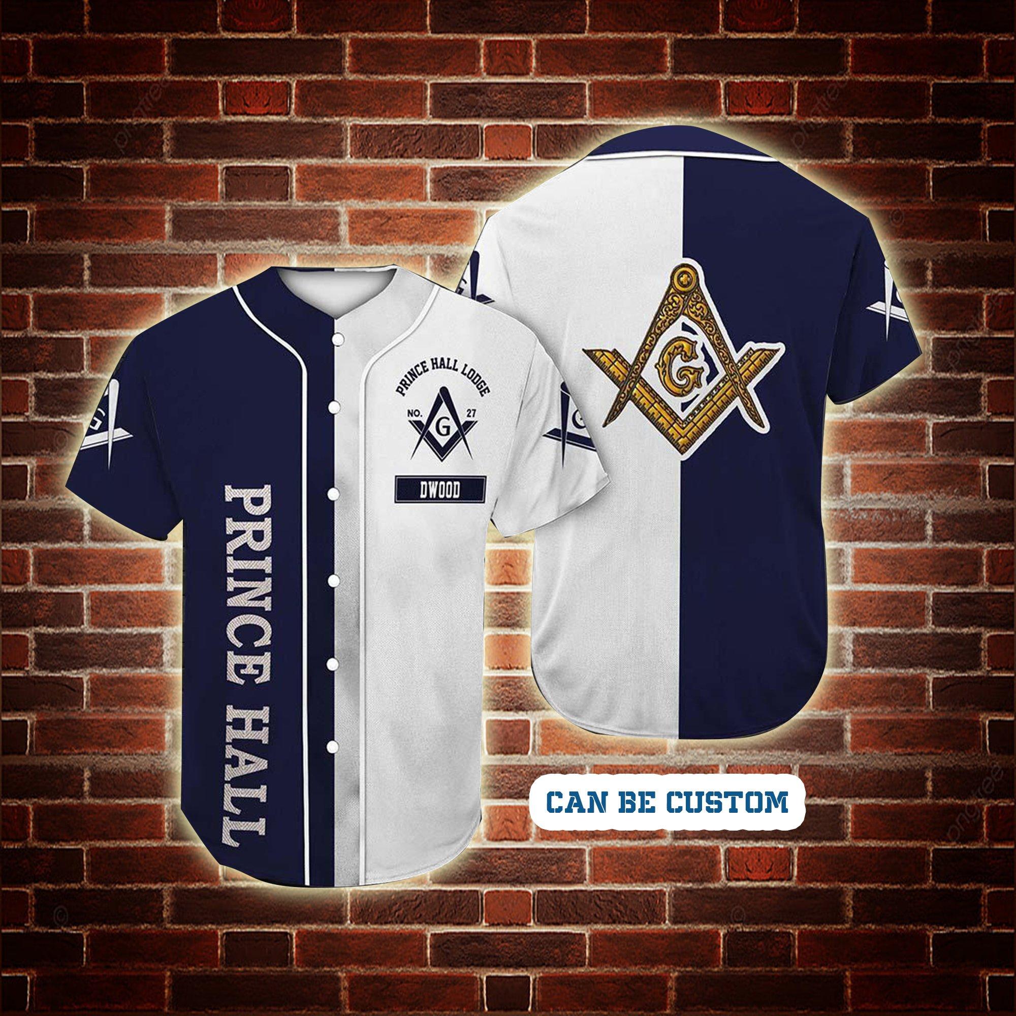 Custom Lodge Name Number Prince Hall Freemasonry Baseball Jersey