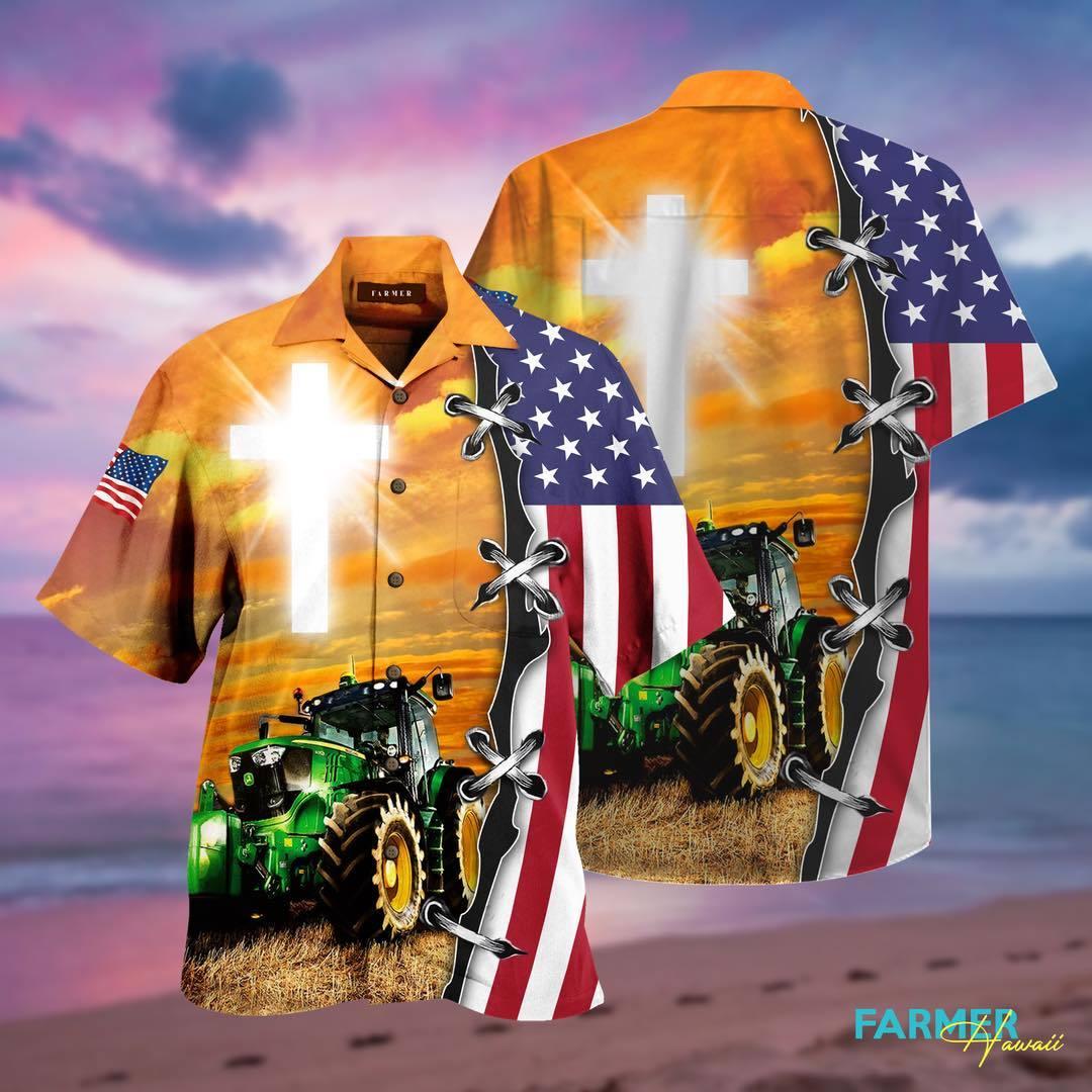 Jeep God American Flag Hawaiian Aloha Shirts