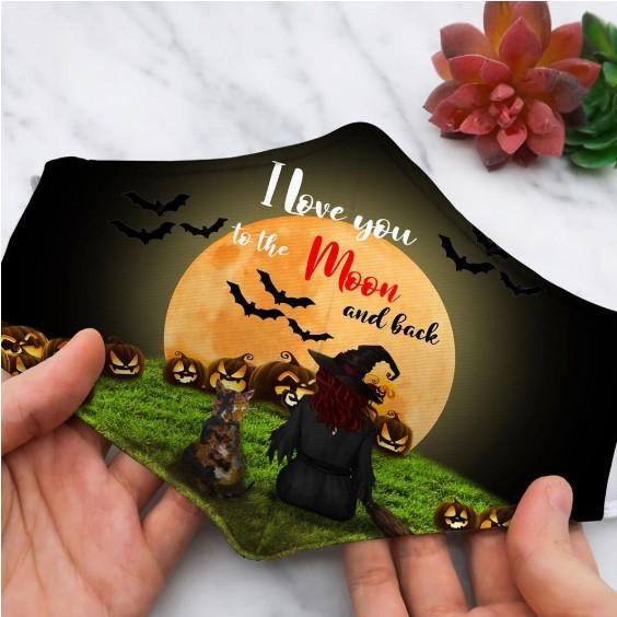 Halloween witch I love you to the moon and back face mask