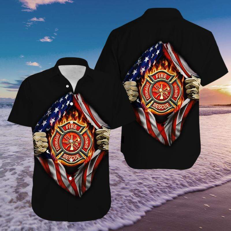 Black Firefighter American Flag Hawaiian Shirts